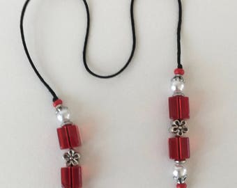 String Beaded Red Glass and Pearl Handmade Bookmark