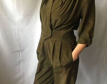 Vintage 80's army green jumpsuit
