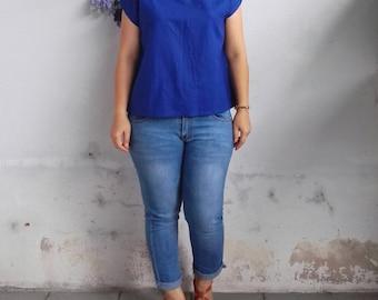 Linen Top / Basic Linen Top, Linen Blouse in Royal Blue
