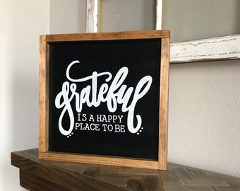 Grateful- Wood Sign, Home Decor, Rustic, Wall Decor