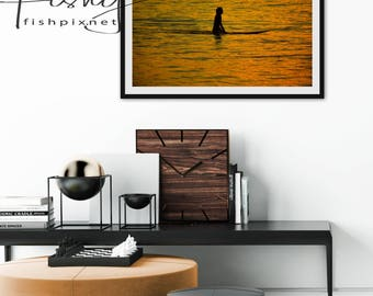 Waiting Surfer Sunset Print. Professionally shot limited edition Print. Surf Photography, Surf Images, Surf Sunset, Surfers, Surf Art.