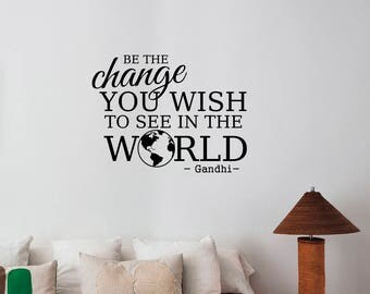 Be The Change Gandhi Quote Inspirational Wall Decal Vinyl Lettering Motivational Saying Sticker Peaceful Art Decorations Home Room Decor gq1