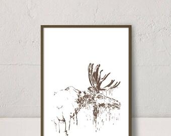 Wall Art Print, Printable Art, Moose Print, Fauna Print, Brown Animal Print, Modern Contemporary, Home Decor, Printable Wall Art Moose,