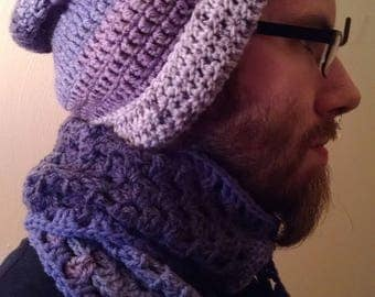 "Crochet ""Lavender"" Scarf & Hat set"