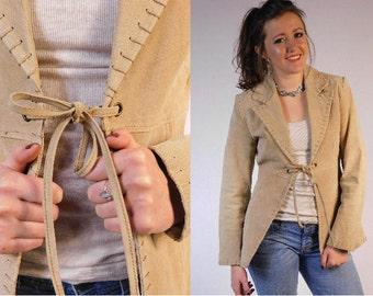 Vintage 90s Suede Leather Jacket Western Jacket Vintage Suede Jacket Tan Leather Jacket Suede Blazer Peplum Jacket Steampunk Coat