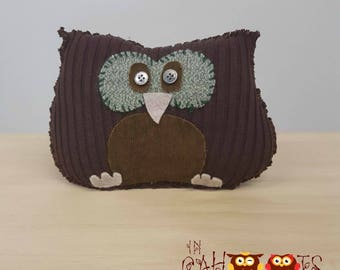 Brown Sweater Owl, Upcycled, Recycled