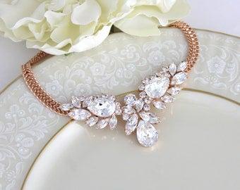 Rose gold necklace, Swarovski crystal necklace, Bridal necklace, Bridal jewelry, Statement necklace, Wedding necklace, Vintage style wedding
