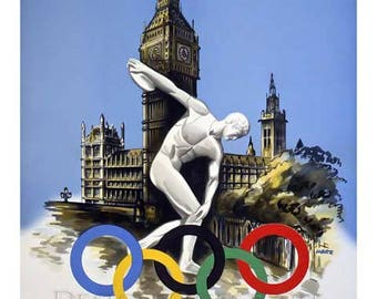 London Olympic Games Travel Poster - Vintage Travel Print Art - Home Decor - 1948 London Olympics