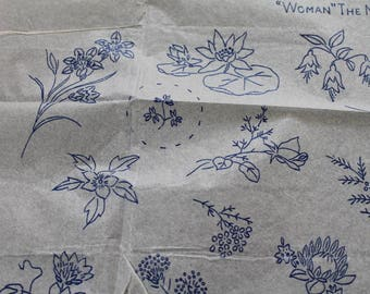 Vintage Flower Embroidery Transfers/ Flowers/ Craft Supplies & Tools/ Sewing Transfers/ Haberdashery/ Set A/ 006U