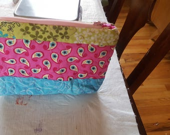 Pink Blue and Green Quilted Pouch