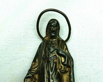 Vintage 1910's French Bronze Statue Jesus and The Sacred Heart BoutiqueByDanielle