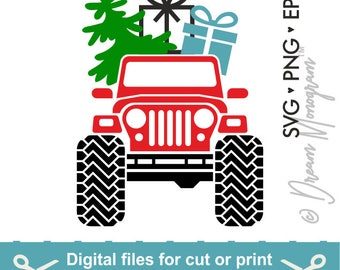 Jeep Svg / Christmas Svg / Christmas Tree Svg / Red truck Svg / Christmas Truck Svg / Cutting files for use with Silhouette Cameo and Cricut