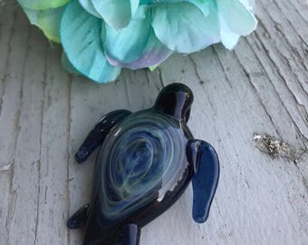 Silver Fumed Turtle Pendant | Galaxy Shell Turtle Pendant | Handmade Necklace | Glass Jewelry
