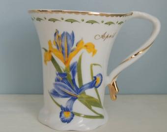 April Mug, Iris Mug, April Birthday Mug, ND Exclusive, Floral Mug, Delicate Mug, Gold Trim Mug