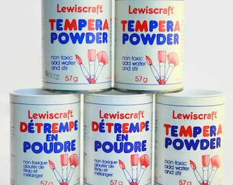 Lewiscraft Tempera Paint Kit | Vintage Powdered Paint Containers | Vintage Craft Supplies | Dry Paint Powder