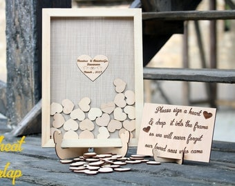Burlap wedding guest book alternative guestbook Drop top Rustic guestbook Drop box Guest book heart Guest book frame Wood heart guest book