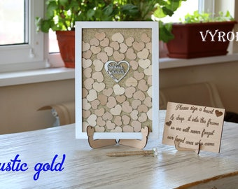 Gold wedding guest book alternative Rustic guestbook Unique guest book ideas Gold guest book frame Wedding drop box Wood heart guestbook