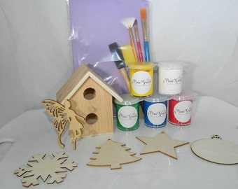 Kids Paint Kit Gift -Five Unfinished Wood Ornaments - Wood Bird House - Kids Room Wood Sign - Safe Paints for Kids - Nontoxic Paints -