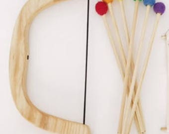 wooden bow and arrow, pretend play, natural, play set