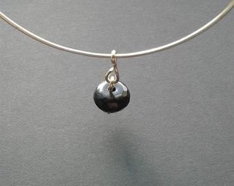 Silver and Black Charm Bangle Bracelet