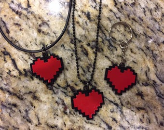 Undertale necklace, undertale pixel heart necklace, 8 bit pixel heart key chain, undertale key chain, undertale frisk cosplay,