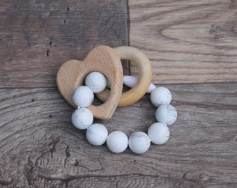 Silicone and Wood Teething Toy | Heart | Modern | Perfect Gift | Handmade in Canada | Unique | Teething | Baby | Kenton Creations