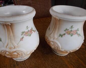 2 Vintage Embossed Custard Glass Lamp Shades