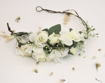 Boho Bridal Headpiece / White Greenery Halo Flower Crown Floral Headband Fall Head Wreath Floral Hairpiece Bohemian Hair Accessories