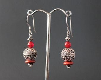 Carnelian and Red Jasper Beads Earrings