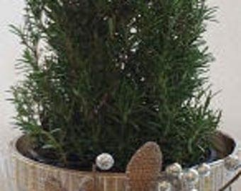 "Small Wooden Holiday Planter ""PLATINUM #2"""