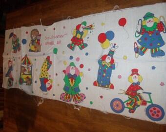 Sue Dreamer Apparel Art - Fabric Panel - Clown - Circus - 1980s