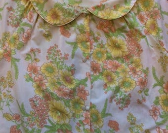 80's Yellow Floral House Dress