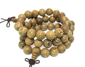 Wengen Wood Mala Bracelet Natural Ji Chi Wood 12mm Beaded Bracelet Buddhist Beads Prayer Beads Meditation Yoga Beaded Bracelet Mala Gift