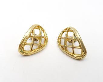 Vintage Pierced Earrings Gold Tone Weaved Filigree Detailed Metal Stud Geometric Drop Modernist Mod Retro Classic Feminine Statement