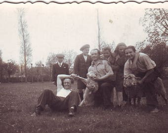 Vintage Photo - Photo with sheep - People and sheep - Happy folks - Young women and men - Vintage Snapshot - Polish Photo - 1930s Photo