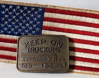 vintage keep on truckin belt buckle - trucker belt buckle - vintage brass belt buckle - mens belt buckle - brass buckle - retro belt buckle