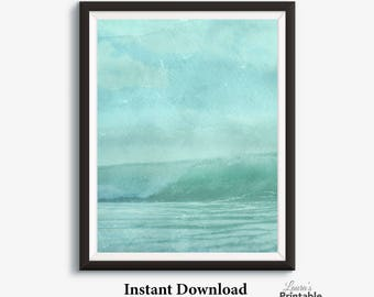 Mint Green Art, Watercolor Printable, Watercolor Ocean, Beach Scene,  Printable Watercolor Art Part 45