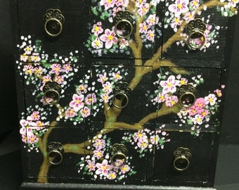Nine drawer mini chest  - hand painted - perfect gift