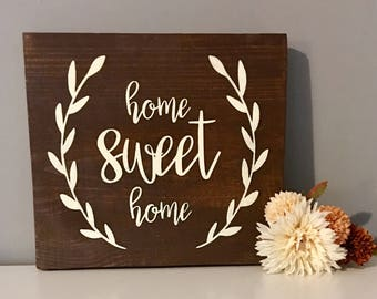 Home sweet home wood sign - home sweet home - wooden sign - wall decor - wooden wall decor - rustic home decor - wall signs - home sign