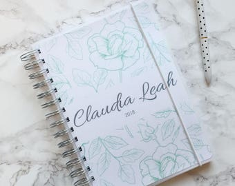 Personalised 2018 A5 Planner/Diary with or without tabbed dividers - Green Floral