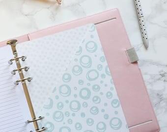 Aqua Doodle Pocket Folder | Planner Pocket | Pocket Divider | Pocket Dashboard - A5