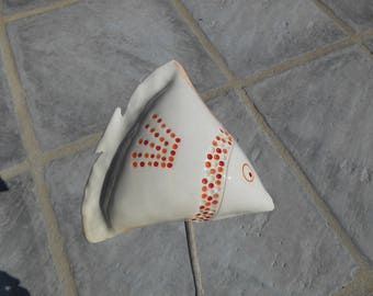 To be attached to a bamboo rod type holder ceramic fish