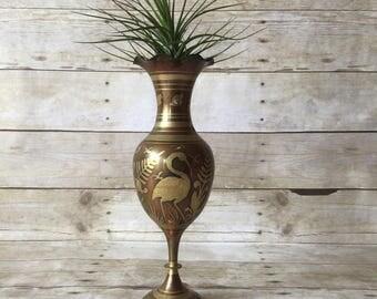 Vintage Etched Brass Vase with Cranes - Ornate Boho Air Plant Holder or Bud Vase