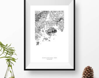 Acadia National Park, Maine | Topographic Print, Contour Map, Map Art | Home or Office Decor, Gift for Wilderness Lover, Camper, or Hiker