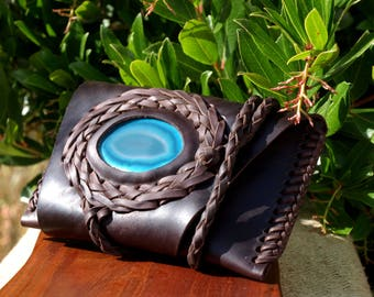 leather tobacco pouch - agate
