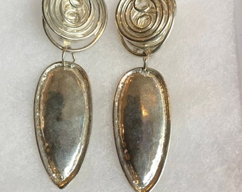Vintage Retro Mid Century Modern Silver Tone Dangle Abstract Clip On Earrings