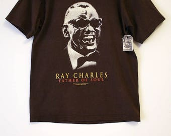 Ray Charles Father of Soul Brown T-shirt- Size Women's Small (Cotton)