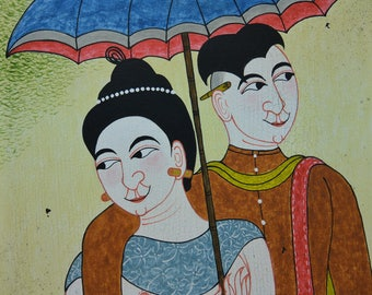 "Painting on canvas - ""the newlyweds"" - Traditional Thai painting canvas"