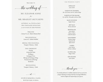 Adel: Printable Wedding Program Template, Classic Elegant Wedding Program, Simply Editable PDF, Calligraphy Flat Panel PDF Instant Download
