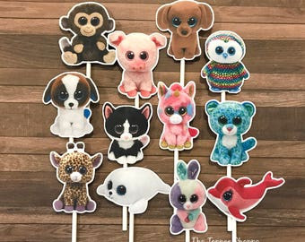 BEANIE BOOS Cupcake Toppers / Cake Toppers / Die Cuts / Birthday Party / Decorations / Cake Pops / Supplies / Decor / Fast Shipping